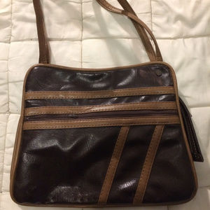 Vintage Brown and Tan purse - lots of space